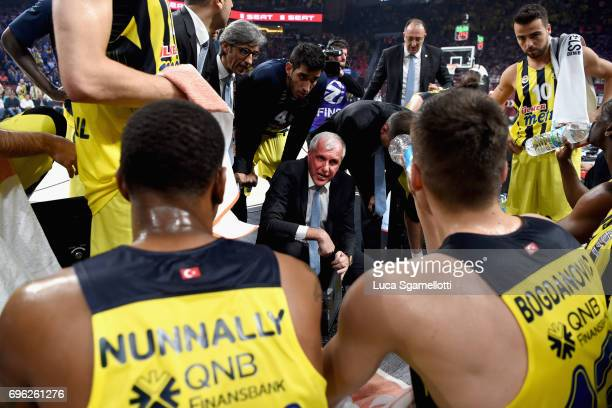 Zeljko Obradovic Head Coach of Fenerbahce Istanbul during a timeout during the Championship Game 2017 Turkish Airlines EuroLeague Final Four between...