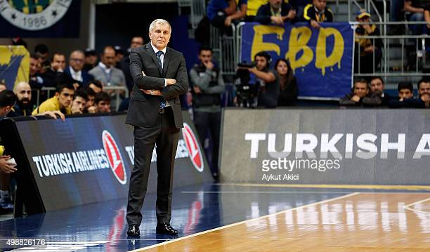 Zeljko Obradovic Head Coach of Fenerbahce Istanbul in action during the Turkish Airlines Euroleague Regular Season Round 7 game between Fenerbahce...