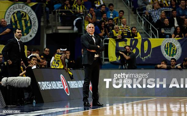Zeljko Obradovic Head Coach of Fenerbahce Istanbul in action during the Turkish Airlines Euroleague Basketball Regular Season Round 9 game between...