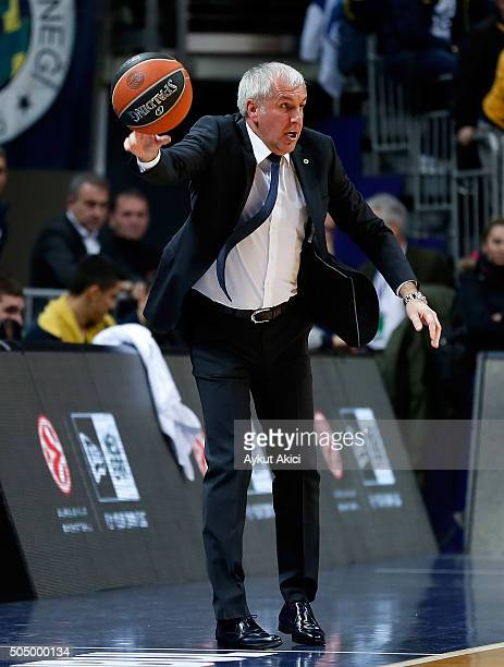 Zeljko Obradovic Head Coach of Fenerbahce Istanbul in action during the Turkish Airlines Euroleague Basketball Top 16 Round 3 game between Fenerbahce...