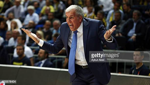 Zeljko Obradovic Head Coach of Fenerbahce Istanbul in action during the 2016/2017 Turkish Airlines EuroLeague Regular Season Round 5 game between...