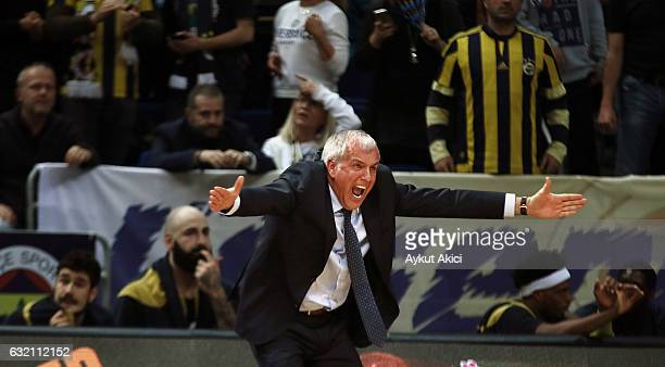 Zeljko Obradovic Head Coach of Fenerbahce Istanbul in action during the 2016/2017 Turkish Airlines EuroLeague Regular Season Round 18 game between...