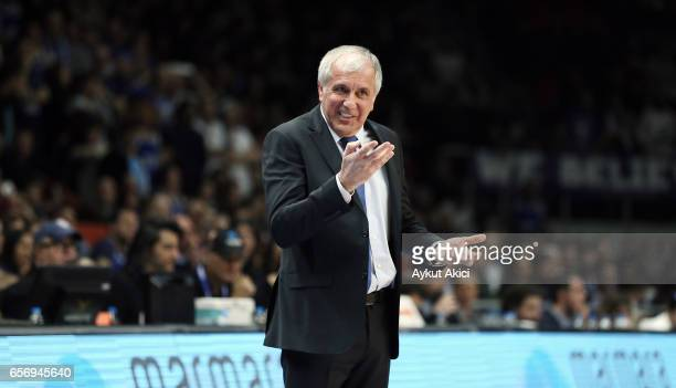 Zeljko Obradovic Head Coach of Fenerbahce Istanbul in action during the 2016/2017 Turkish Airlines EuroLeague Regular Season Round 28 game between...