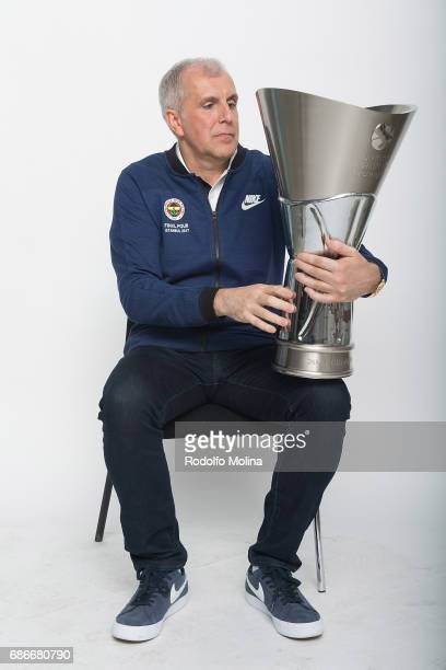 Zeljko Obradovic Head Coach of Fenerbahce Istanbul pose with Trophy duringTurkish Airlines EuroLeague Basketball Final Four istanbul 2017 Champion...