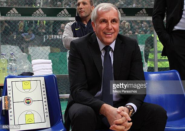 Zeljko Obradovic Head Coach of Fenerbahce Istanbul reacts during the 2016/2017 Turkish Airlines EuroLeague Regular Season Round 12 game between...