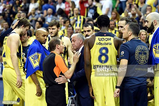 Zeljko Obradovic Head Coach of Fenerbahce Istanbul talks with referee Christos Christodoulou during Turkish Airlines Euroleague Final Four Berlin...