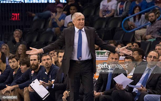Zeljko Obradovic head coach of Fenerbahce Ulcer during the first quarter of a NBA preseason game at the Chesapeake Energy Arena on October 9 2015 in...