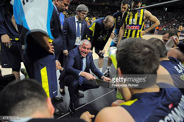 Zeljko Obradovic Head Coach of Fenerbahce Ulker Istanbul during the Turkish Airlines Euroleague Final Four Madrid 2015 3rd Place Game between...