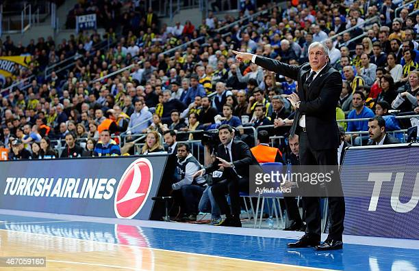 Zeljko Obradovic Head Coach of Fenerbahce Ulker Istanbul in action during the Turkish Airlines Euroleague Basketball Top 16 Date 11 game between...