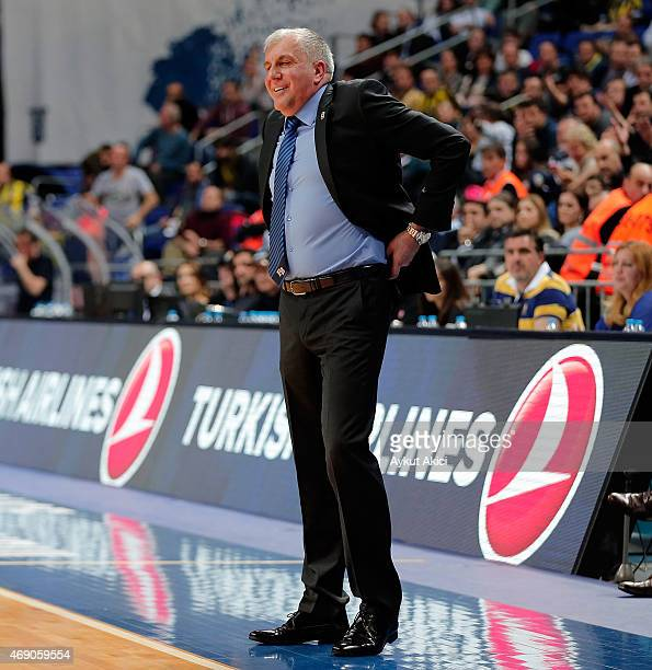 Zeljko Obradovic Head Coach of Fenerbahce Ulker Istanbul in action during the Turkish Airlines Euroleague Basketball Top 16 Date 14 game between...