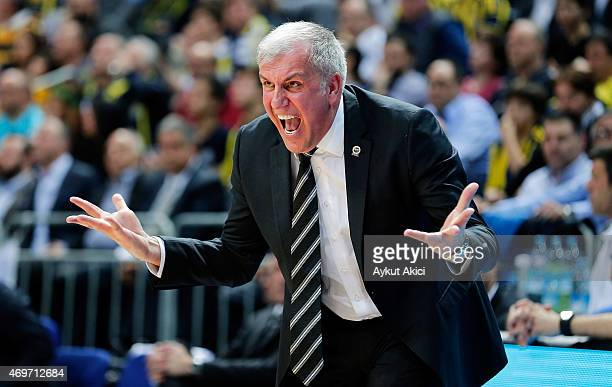 Zeljko Obradovic Head Coach of Fenerbahce Ulker Istanbul in action during the 20142015 Turkish Airlines Euroleague Basketball Play Off Game 1 between...