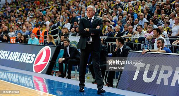 Zeljko Obradovic Head Coach of Fenerbahce Ulker Istanbul in action during the 20142015 Turkish Airlines Euroleague Basketball Play Off Game 2 between...