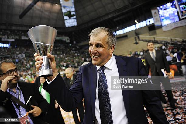 Zeljko Obradovic holds the trophy after winning the Turkish Airlines EuroLeague Final Four final match between Panathinaikos and Maccabi Tel Aviv at...
