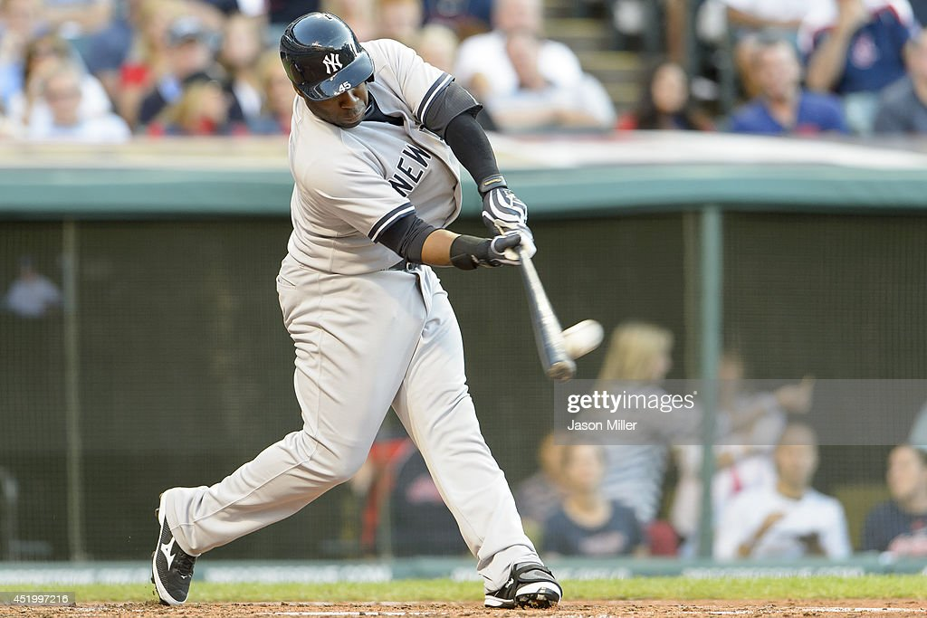Zelous Wheeler #45 of the New York Yankees hits a two run home run during the fourth inning against the Cleveland Indians at Progressive Field on July 10, 2014 in Cleveland, Ohio.
