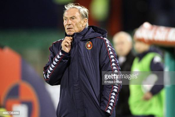 Zeman Zdenek coach of Cagliari looks on during the Serie A match between Cagliari Calcio and Empoli FC at Stadio Sant'Elia on March 14 2015 in...