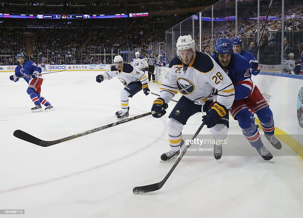 Zemgus Girgensons #28 of Buffalo Sabres skates against the New York Rangers at Madison Square Garden on April 10, 2014 in New York City. The Rangers defeated the Sabres 2-1.