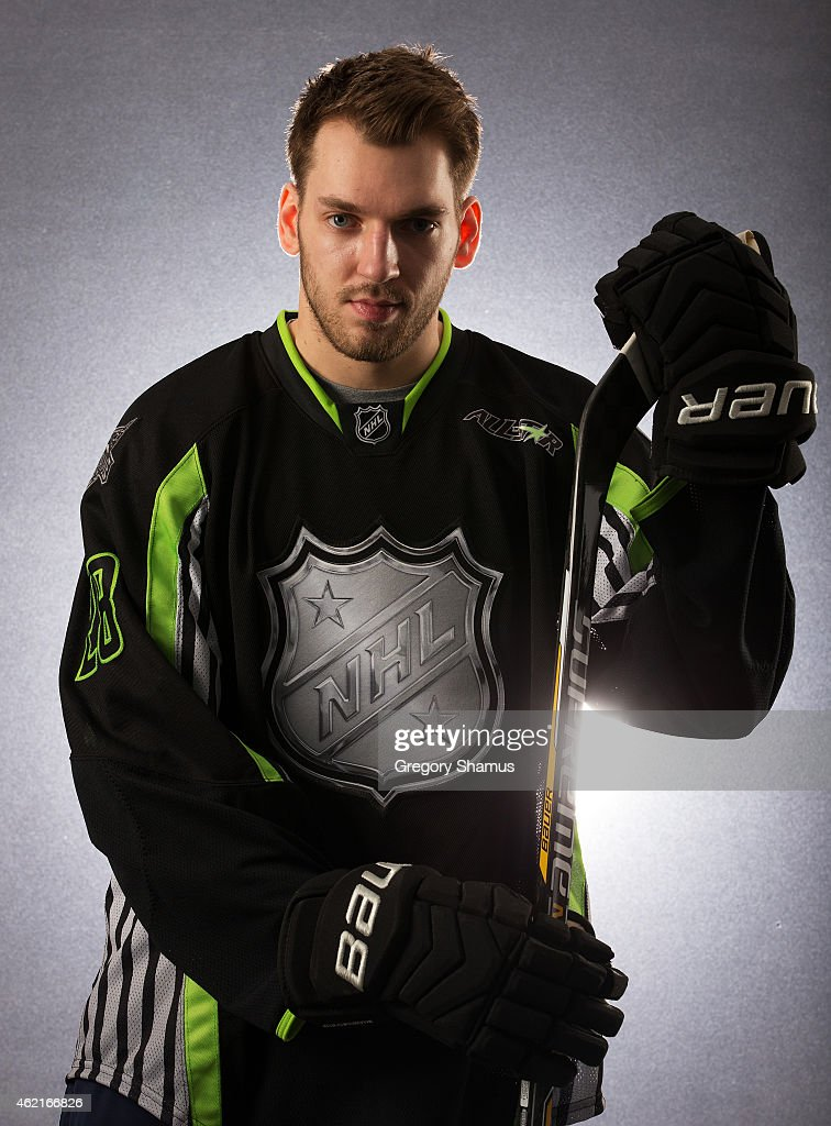 <a gi-track='captionPersonalityLinkClicked' href=/galleries/search?phrase=Zemgus+Girgensons&family=editorial&specificpeople=8050732 ng-click='$event.stopPropagation()'>Zemgus Girgensons</a> #28 of the Buffalo Sabres and Team Foligno poses for a portrait prior to the 2015 Honda NHL All-Star Game at Nationwide Arena on January 25, 2015 in Columbus, Ohio.