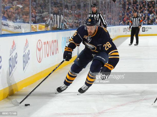 Zemgus Girgensons of the Buffalo Sabres skates against the Toronto Maple Leafs during an NHL game at the KeyBank Center on April 3 2017 in Buffalo...