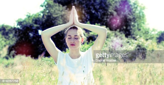 zen beautiful yoga girl for inner retreat, retro contrast tone : Stock Photo