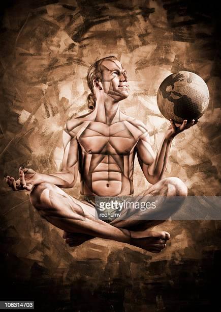 Zen Kubismus Meditation mit Globus