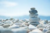 Zen pebbles on the beach
