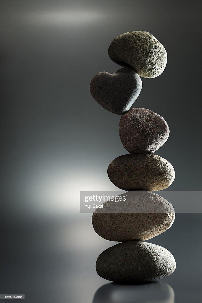 Zen stone on pile : Stock Photo