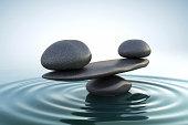 Zen stones balance.Blue dawn