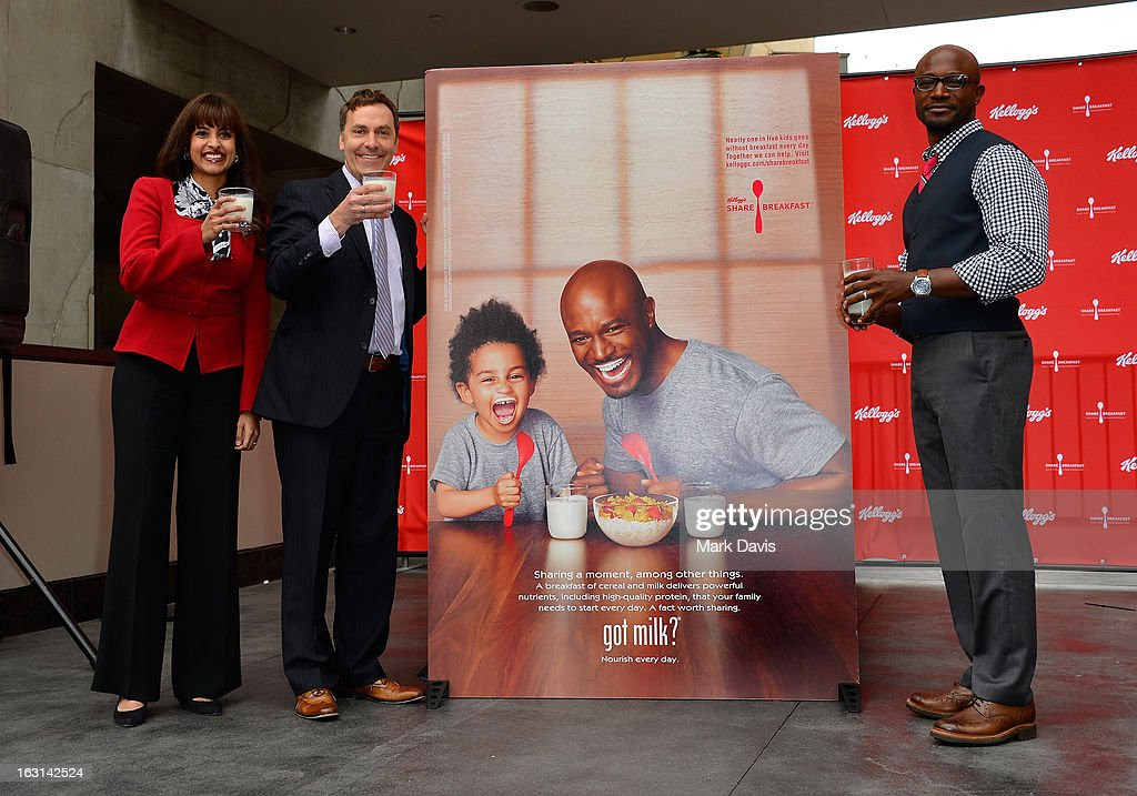 Zena Arnold, Senior Brand Manager, Kellogg, Victor Zaborsky, Marketing Director, MilkPEP (Milk Processor Education Program), and actor Taye Diggs attend the unveiling of the new Milk Mustache 'got milk?' ad campaign at Hollywood and Highland on March 5, 2013 in Hollywood, California. Taye Diggs and son Walker star in a Milk Mustache Ad showcasing the role milk's protein plays at their breakfast table. The ad supports Kellogg's efforts to share breakfast with children in need through the Share Breakfast program.
