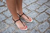 Zenaida is wearing sandals from Lefties at the Sonar Music Festival on June 14 2014 in Barcelona Spain