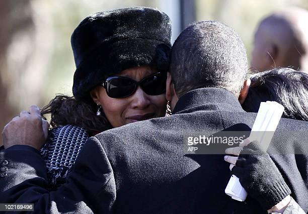 Zenani Mandela daughter of Nelson Mandela and Winnie MadikizelaMandela reacts during the memorial service of her relative Zenani Mandela at the St...