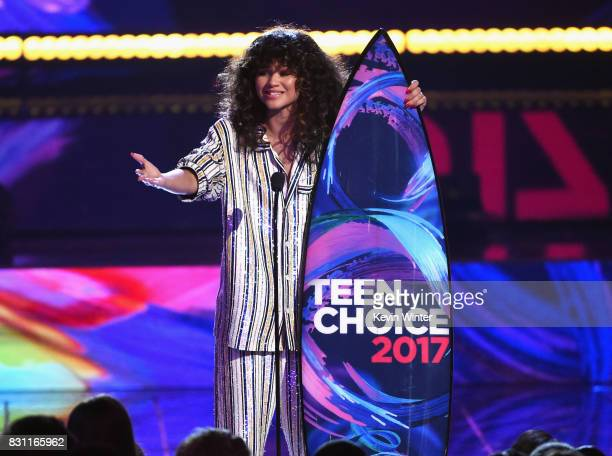 Zendaya accepts Choice Summer Movie Actress for 'SpiderMan Homecoming' onstage during the Teen Choice Awards 2017 at Galen Center on August 13 2017...