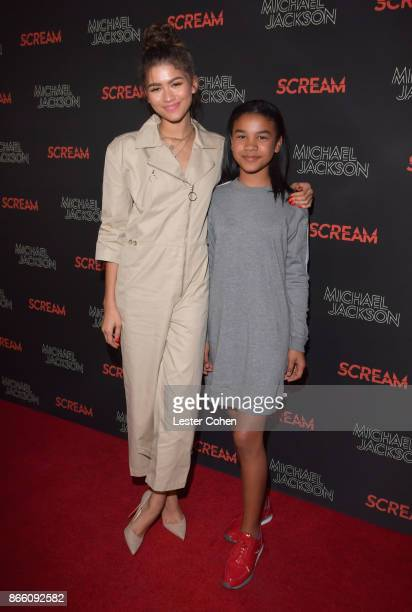 Zendaya and Kaylee Stoermer Coleman attend Michael Jackson Scream Album Halloween Takeover at TCL Chinese 6 Theatres on October 24 2017 in Hollywood...