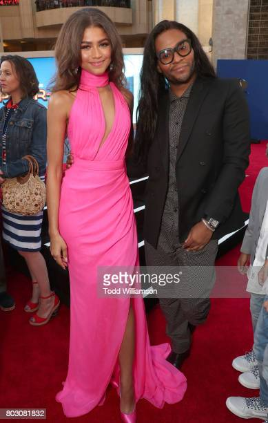 Zendaya and Law Roach attend the premiere of Columbia Pictures' 'SpiderMan Homecoming' at TCL Chinese Theatre on June 28 2017 in Hollywood California