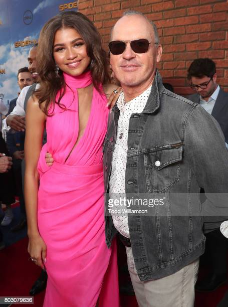 Zendaya and Michael Keaton attend the premiere of Columbia Pictures' 'SpiderMan Homecoming' at TCL Chinese Theatre on June 28 2017 in Hollywood...
