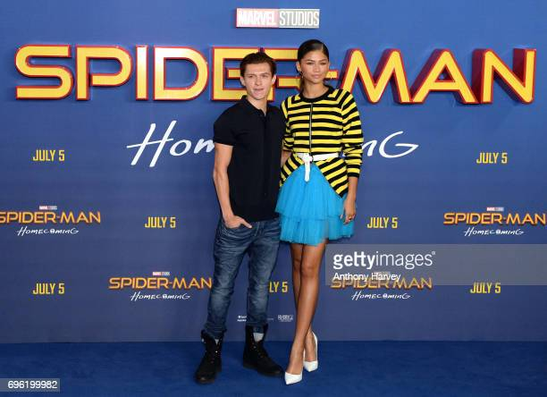Zendaya and Tom Holland attend the 'SpiderMan Homecoming' photocall at The Ham Yard Hotel on June 15 2017 in London England