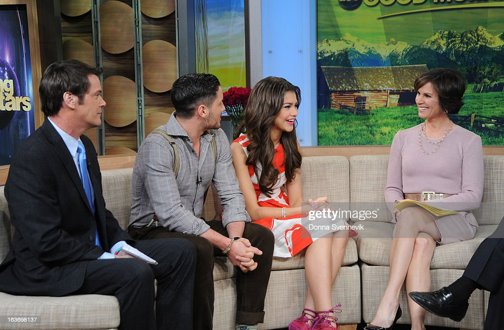 AMERICA - Zendaya and Val Chmerkovskiy of 'Dancing with the Stars' appear on 'Good Morning America,' 3/14/13, airing on the ABC Television Network. (Photo by Donna Svennevik/ABC via Getty Images) JOHN MUELLER, VAL CHMERKOVSKIY, ZENDAYA, ELIZABETH VARGAS
