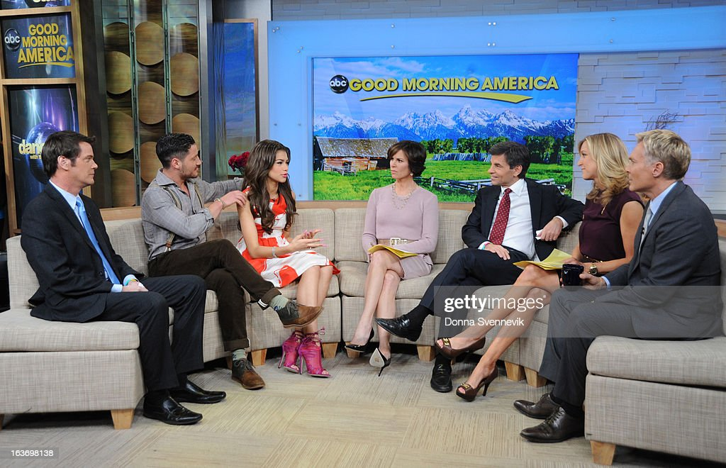 AMERICA - Zendaya and Val Chmerkovskiy of 'Dancing with the Stars' appear on 'Good Morning America,' 3/14/13, airing on the ABC Television Network. (Photo by Donna Svennevik/ABC via Getty Images) JOHN MUELLER, VAL CHMERKOVSKIY, ZENDAYA, ELIZABETH VARGAS, GEORGE STEPHANOPOULOS, LARA SPENCER, SAM CHAMPION