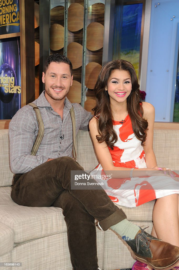 AMERICA - Zendaya and Val Chmerkovskiy of 'Dancing with the Stars' appear on 'Good Morning America,' 3/14/13, airing on the ABC Television Network. (Photo by Donna Svennevik/ABC via Getty Images) VAL CHMERKOVSKIY, ZENDAYA