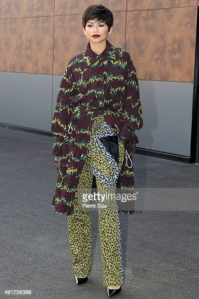 Zendaya arrives at the Kenzo show as part of the Paris Fashion Week Womenswear Spring/Summer 2016 on October 4 2015 in Paris France