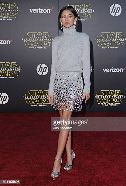 Zendaya arrives at the Los Angeles Premiere 'Star Wars The Force Awakens' on December 14 2015 in Hollywood California
