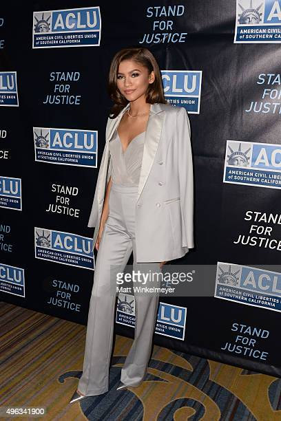 Zendaya attends the ACLU SoCal hosts 2015 Bill of Rights Dinner at the Beverly Wilshire Four Seasons Hotel on November 8 2015 in Beverly Hills...