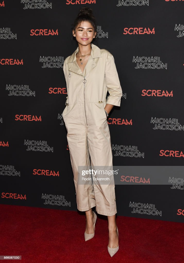 Zendaya attends The Estate of Michael Jackson and Sony Music present Michael Jackson Scream Halloween Takeover at TCL Chinese 6 Theatres on October 24, 2017 in Hollywood, California.