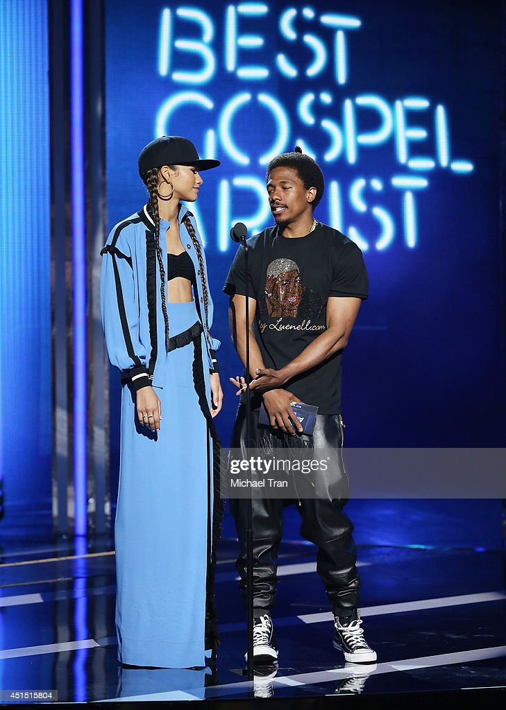 Zendaya Coleman and Nick Cannon speak onstage during the 'BET AWARDS' 14 held at Nokia Theater L.A. LIVE on June 29, 2014 in Los Angeles, California.