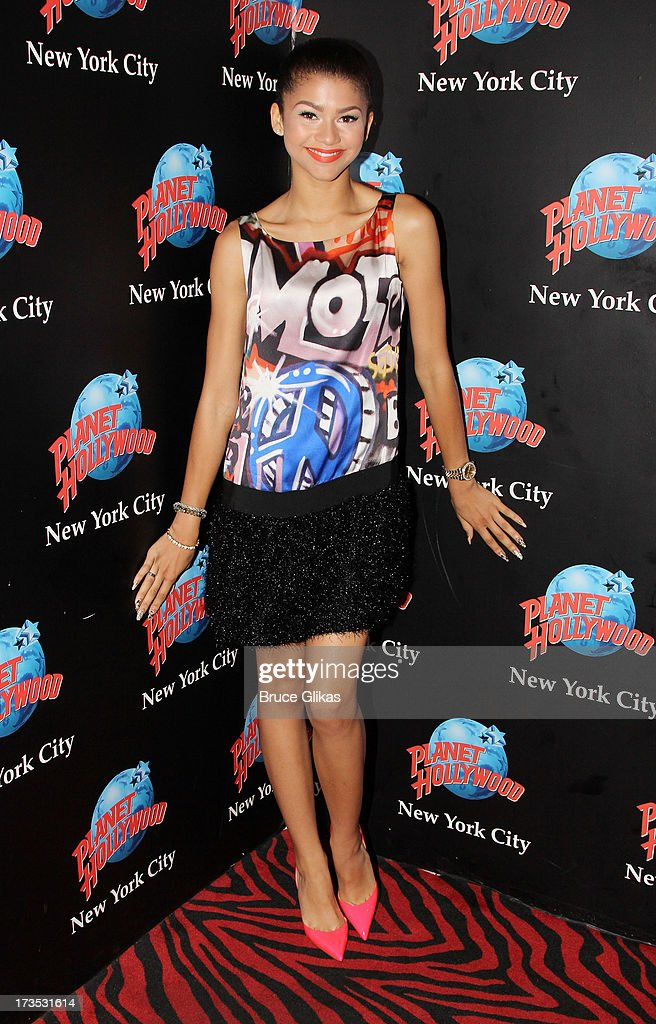 <a gi-track='captionPersonalityLinkClicked' href=/galleries/search?phrase=Zendaya+Coleman&family=editorial&specificpeople=7115520 ng-click='$event.stopPropagation()'>Zendaya Coleman</a> attends her Hand Print Ceremony at Planet Hollywood Times Square on July 15, 2013 in New York City.