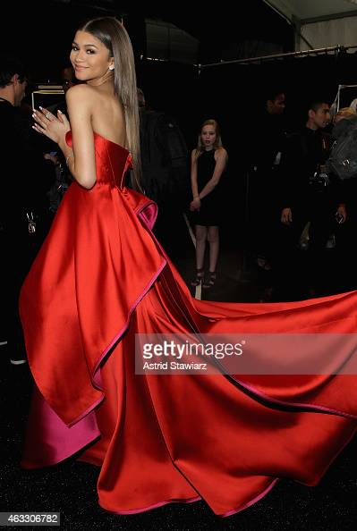 Zendaya Coleman poses backstage at the Go Red For Women Red Dress Collection 2015 presented by Macy's fashion show during MercedesBenz Fashion Week...