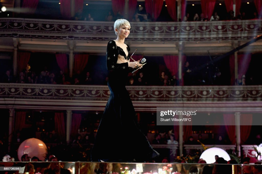 Zendaya presents the award for British Designer of the Year Womenswear on stage during The Fashion Awards 2017 in partnership with Swarovski at Royal Albert Hall on December 4, 2017 in London, England.
