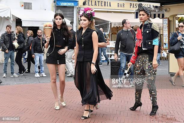 Zendaya Sonia Ben Ammar and Thylane Blondeau are seen on the set ofthe DolceGabbana Summer 2017 #DGMillennials Advertising Campaign on October 21...