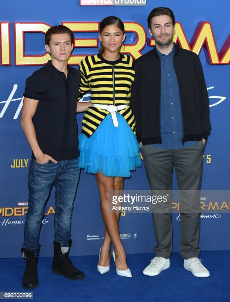 Zendaya Tom Holland and Jon Watts attend the 'SpiderMan Homecoming' photocall at The Ham Yard Hotel on June 15 2017 in London England