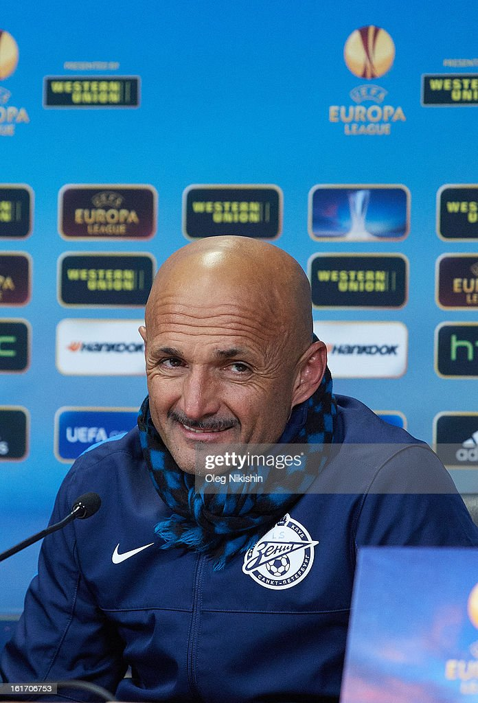FC Zenit head coach <a gi-track='captionPersonalityLinkClicked' href=/galleries/search?phrase=Luciano+Spalletti&family=editorial&specificpeople=708667 ng-click='$event.stopPropagation()'>Luciano Spalletti</a> during a press conference after the UEFA Europa League Round of 32 first leg between FC Zenit St Petersburg and Liverpool FC at the Petrovski stadium on February 14, 2013 in St. Petersburg, Russia.