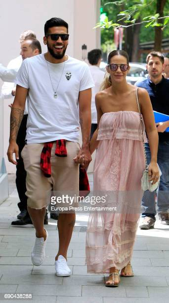 Zenit Saint Petersburg Football player Ezequiel Garay and her wife Tamara Gorro are seen on May 30 2017 in Madrid Spain